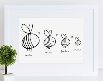 Personalised Family Bees Print