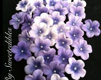 5 Petal Gumpaste Blossoms Different Shades of Purple Gum Paste
