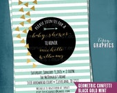 Gold Confetti. Rustic Natural Baby Bridal Shower Party Invitation. Any Colors or Occasion by Tipsy Graphics