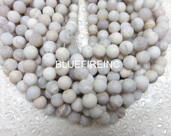32 pcs 12mm round smooth Matte Natural Color round White/grey Agate Beads in Full strand