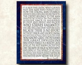Man in the Arena - 11x14 Mounted Word Art Print - other formats Canvas, Greeting Card - Theodore Roosevelt Cobalt Blue with Rust