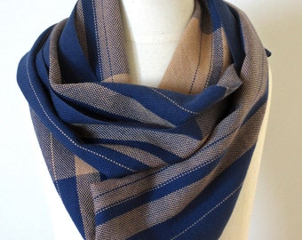 MEN'S Handwoven Cotton Loop Scarf  //  Blue + Oatmeal