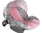 Baby Car Sear Cover, Infant Car Seat Cover, Slip Cover- Custom Grey Arrow & Light Pink Minky