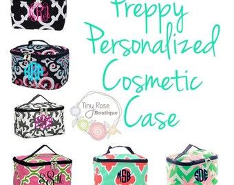 Monogrammed Preppy Cosmetic Case, Toiletry Bag, Makeup Bag