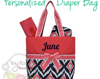 Personalized Diaper Bag, Coral Ikat Monogrammed Baby Tote, Changing Pad, Mommy Bag