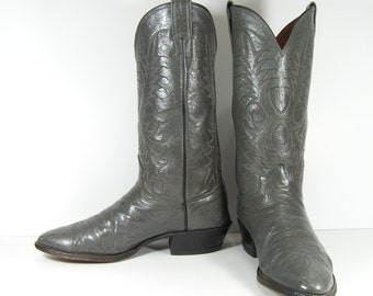 cowboy boots men's 9.5 D gray leather nocona western made in usa vintage