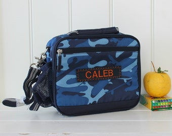 Personalized Lunch Bag -- Pottery Barn Cold Pack Lunch Bag -- Navy Camo