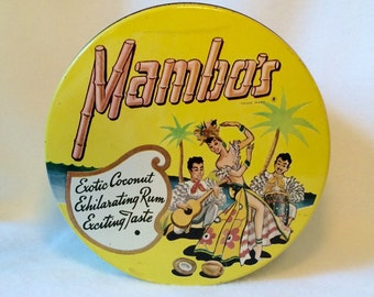 Mid Century Candy Tin Bright Yellow Mambos Coconut Rum Tropical Decor