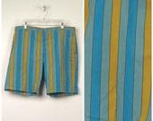 mod turquoise blue gold striped shorts Mad Men 50s 60s vintage Levis Sta prest Walking Shorts flat front colorful Golf Dress Shorts 38 waist