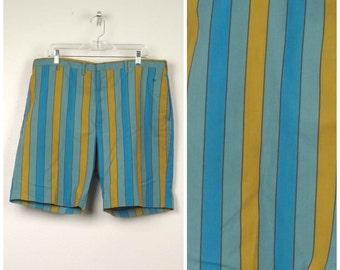 mod turquoise blue gold striped shorts Mad Men 50s 60s vintage Levis Sta prest Walking Shorts flat front colorful Golf Dress Shorts 37 waist