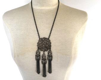 distressed metal filigree pendant necklace bohemian medallion tassel Jewelry Ethnic Festival Boho