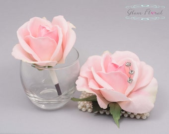 Blush Pink Rose Wrist Corsage and Boutonniere Set. Real Touch Flowers. Caroline Rose Collection