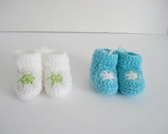 Preemie Premature Very Little Small Baby Infant Crochet White and Aqua Robins Egg Blue Star Booties Set of 2 Great for Preemie Twin Boys