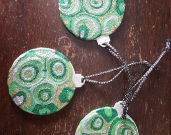 Green Glitter Art Christmas Decorations, ooak, Wooden, 3 x Xmas Tree Decorations