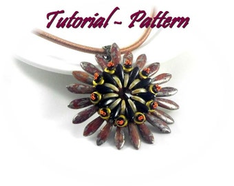 Beading tutorial. Beading pattern/Tutorial for pendant Gerle by Tiszi with Crescent and daggers. PDF instructions, step by step