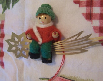 tiny wool doll ornament