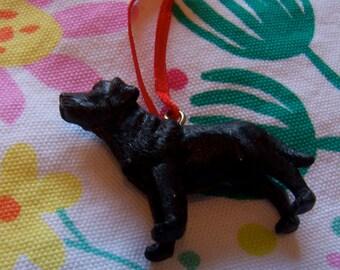 little black male dog ornament