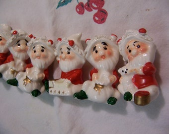 six little adorable gnome figurines