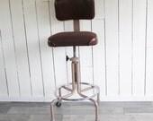 Vintage Industrial Style Drafting Chair - Drafting Stool