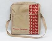 1970s TWA Souvenir Shoulder Bag - Carry-on Bag - Travel Bag