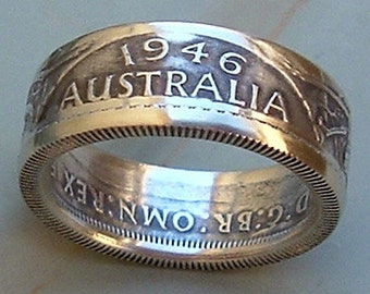 1946 Australian Florin Coin Ring (.500 Silver) (Available in sizes 8.5 through 10)