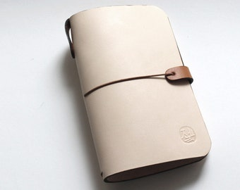 Leather Cover for Pocket size Journal (Cahiers) and Midori Passport Notebooks in Natural Beige (Free Monogramming)