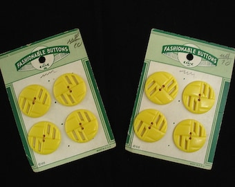 "Vintage Fashionable Buttons by Le Chic - Yellow Graphic 1"" Set of 8 Plastic Buttons"
