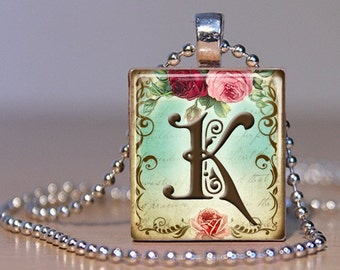 Vintage Monogram Letter K with  Roses - Pendant made from an Upcycled Scrabble Tile (171)