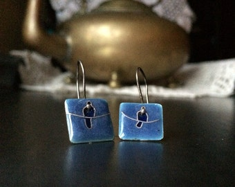 Blue Bird on a Wire Cloissone Dangle Earrings