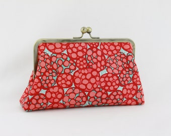the Red Pomegrante - Antique Brass Kisslock Frame Clutch - the Christine Style Clutch