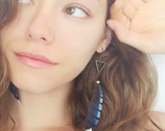 Florida Blue Jay ethical feather earrings