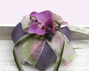 Purple Silk Heart Sachet with Orchid Flower