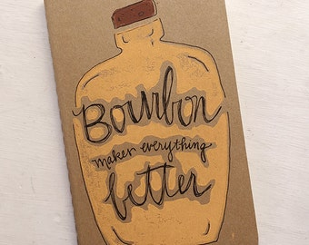 Handprinted Bourbon Moleskine Notebook/Journal/Sketchbook, Bourbon Art