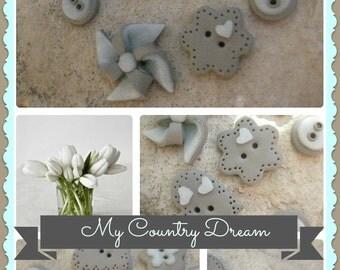 """Handmade buttons """"Romantic Little Boy"""" - polymer clay buttons - set of 7 pcs."""