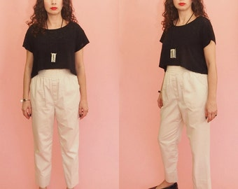 80s High Waist Pants // Harem Pants // Pleated Pants // Elastic Waist Pants // Khaki Pants // Vintage