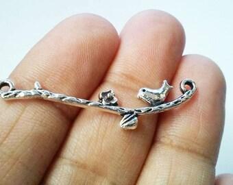 4pc Bird On Branch Charm Connector, Bird Charm, Bird Connector, Antique Silver Lovely Bird On The Branch