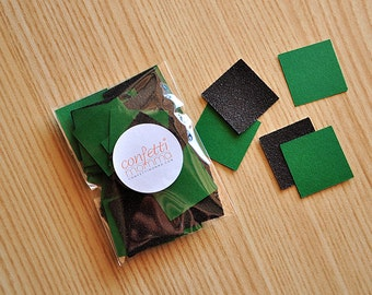 Pixel Confetti for a MineCraft Party.  Handcrafted in 2-3 Business Days. Green and Black Square Confetti. 50CT.