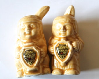 Native American Indian Salt and Pepper Shakers Vintage 1960's !