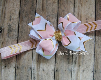 Classic bow on headband...Pink...Gold...newborn...baby girl...photo prop