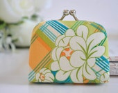 Peony Plaid in Limeade - Tiny Kiss lock Coin Purse/Jewelry holder