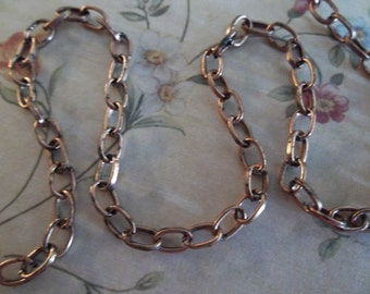 Small Oval Rolo 3 X 4mm Chain in Antiqued Copper - 60 inches