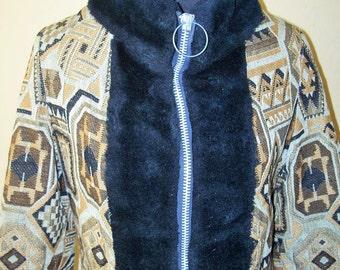 Vintage 1960s 1970s Tapestry Carpet Coat With Faux Fur Trim Sz S