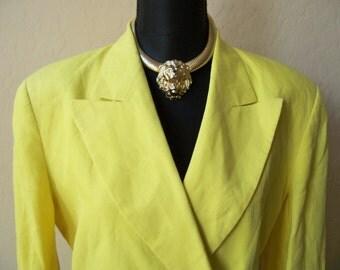 Vintage Escada Yellow 100% Linen Jacket Blazer Sz 38/Medium