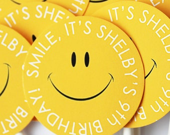 Smiley Happy Face #Stickers, Gift #Tags OR Cupcake #Toppers