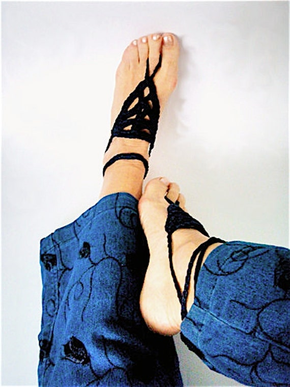 Boho anklets Barefoot sandals crochet Boho Beach Wedding Barefoot sandals Hippy Chic Bohemian Summer fashion Yoga Midnight Blue anklets