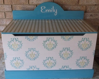 Toy Boxes, Teal and Green, Kids Furniture, Wooden,  Nursery Decor, Toy Chest,  Storage Bench, Toy Storage, Kids Furniture