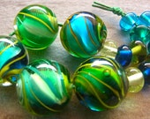 Miss Marbles - Handmade Lampwork Bead Set (15) by Anne Schelling, SRA