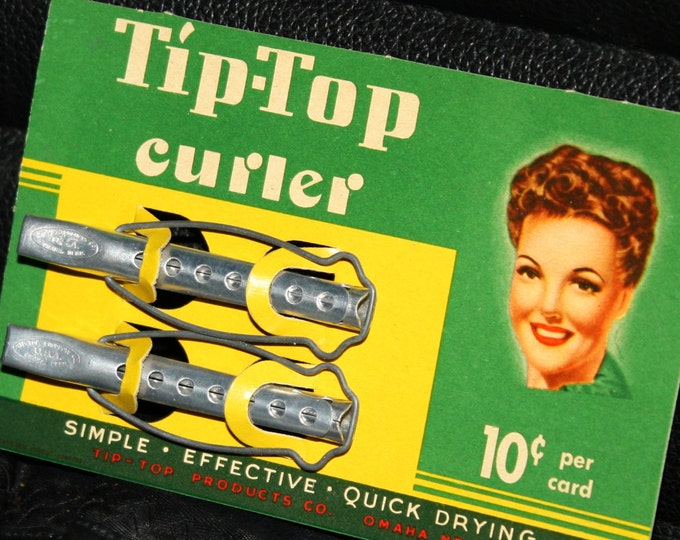 NOS 1940s Tip Top Curlers on Original Display Card; Never Used Old Store Stock Vintage Metal Rollers, Hair Clips