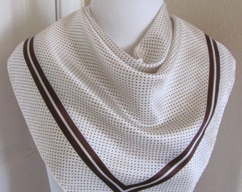 "ECHO // Vintage Off White Brown Polka Dot Silk Scarf  // 27"" Inch 69cm Square"