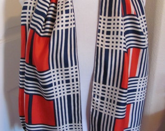 "Beautiful Ladies Red White Blue Stripe Soft Silk Scarf - 13"" x 52"" Long"